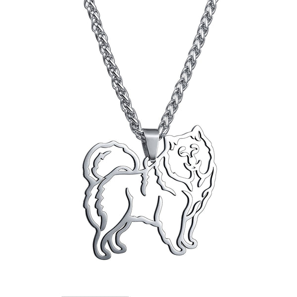 Stainless Steel Stainless Steel Samoyed Sammy Smiley Bjelkier Silhouette Pet Dog Tag Breed Collar Charm Pendant Necklace