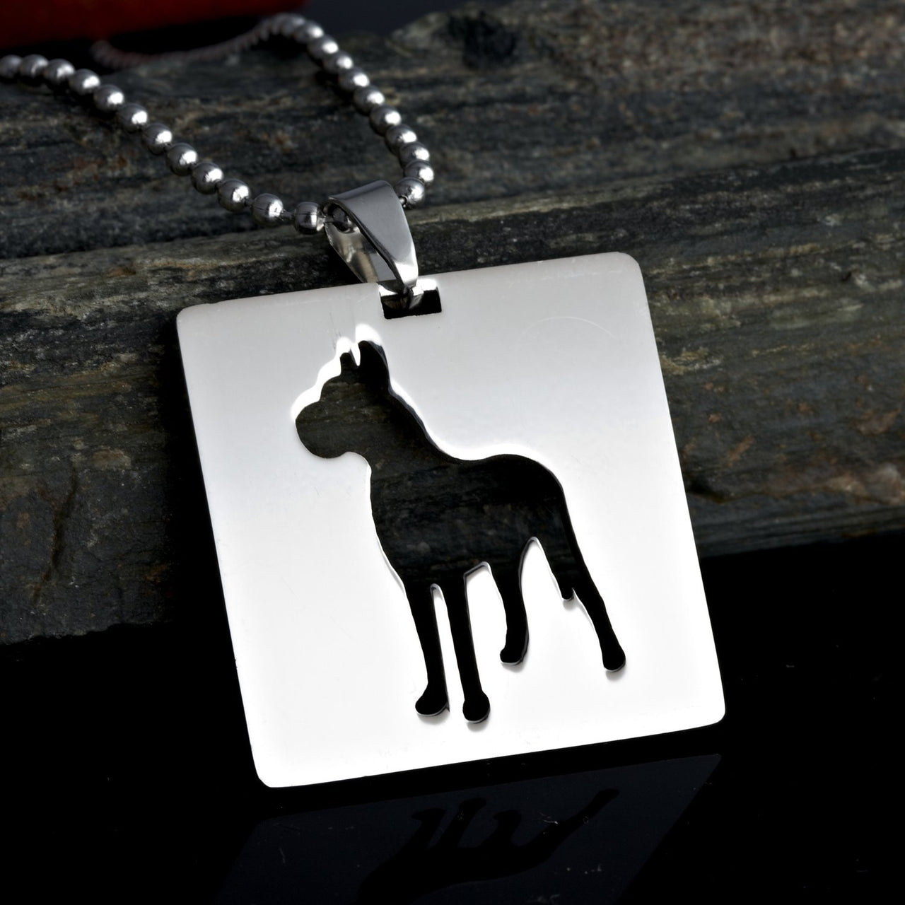 2x Stainless Steel Square Shape Great Dane Silhouette Gentle Giant Deutsche Dogge German Mastiff Pet Dog Tag Collar Jewelry Charm Pendant Necklace