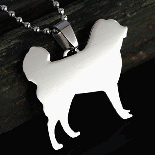 Stainless Steel Tibetan Mastiff Dok Khyi Dog Silhouette Pet Dog Tag Breed Collar Charm Pendant Necklace