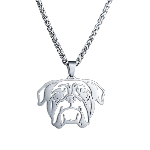 Stainless Steel American English Bulldog Bull Dog Head Pet Dog Tag Breed Collar Charm Pendant Necklace