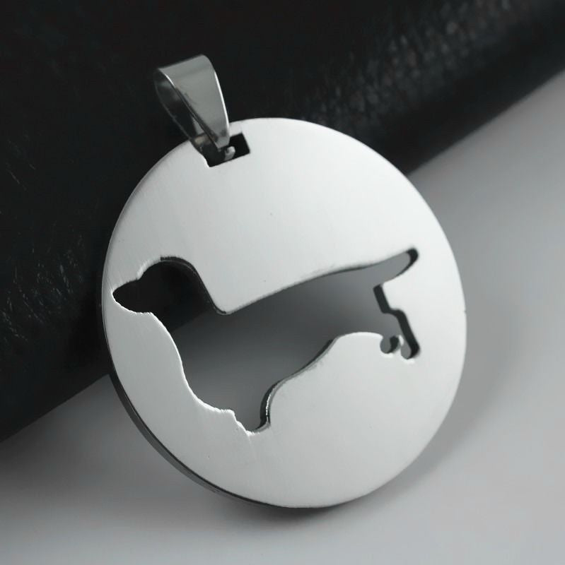 2x Stainless Steel Dachshund Doxie Wiener Pet Dog Round Charm Pendant Necklace
