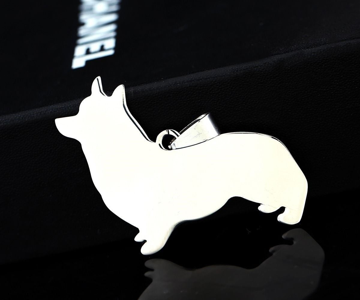 NEW Stainless Steel Pembroke Cardigan Welsh Corgi Pet Dog Charm Pendant Necklace