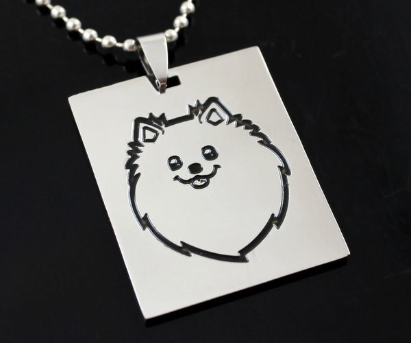 Pomeranian Cartoon Pom Pompom Deutscher Spitz Dog Pet Charm Tag Pendant Necklace