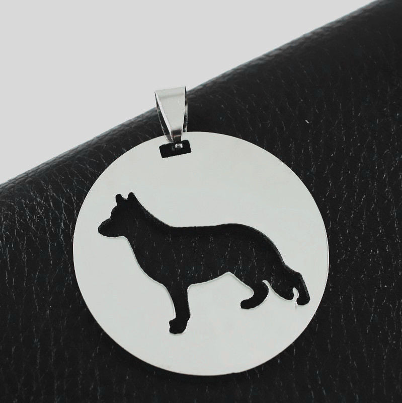 German Shepherd GSD Pet Dog Round Shaped Charm Pendant Deutscher Schaferhund