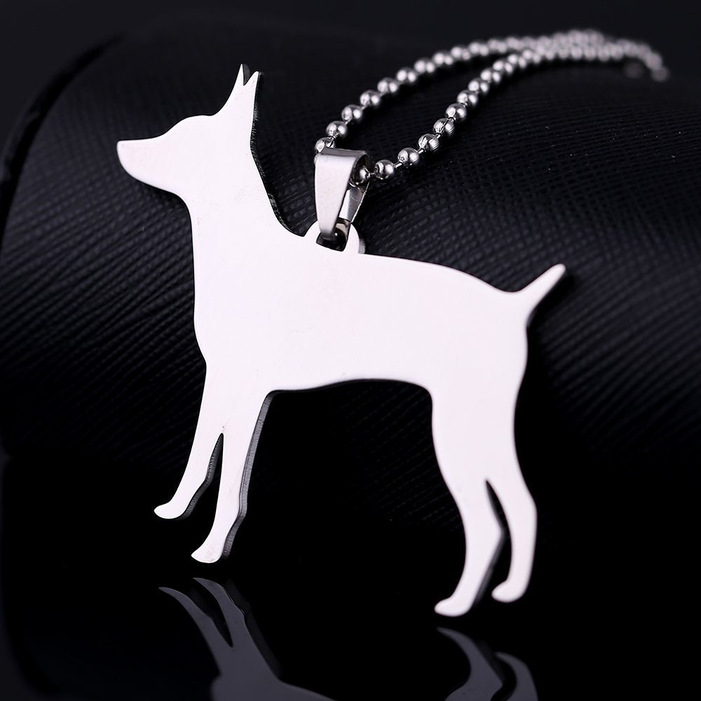 Big Size Stainless Steel Rat Terrier Pet Dog Tag Breed Collar Charm Pendant Necklace
