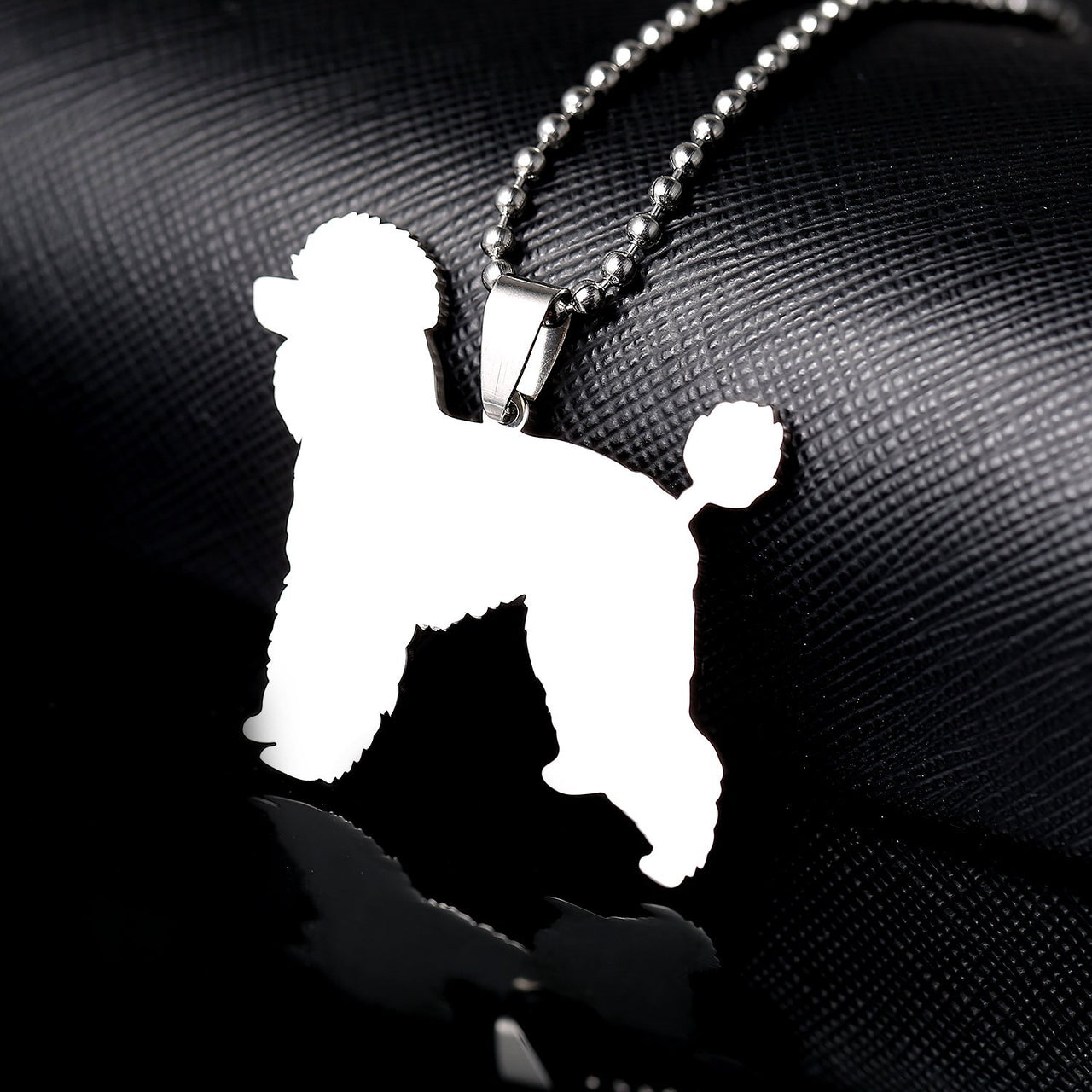 Stainless Steel Giant Poodle Silhouette Pet Dog Tag Breed Collar Charm Pendant Necklace