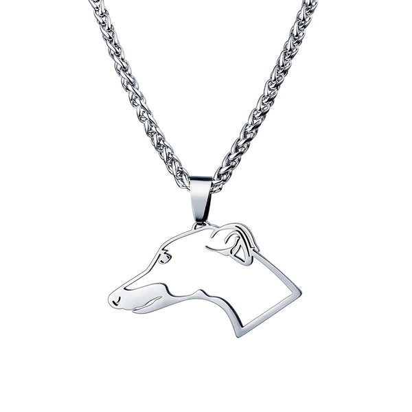 Stainless Steel GreyHound Whippet Head Outline Pet Dog Tag Breed Collar Charm Pendant
