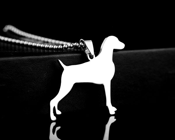 Stainless Steel Weimaraner Weim Grey Ghost Weimaraner Vorstehhund Dog Silhouette Pet Dog Tag Breed Collar Charm Pendant Necklace