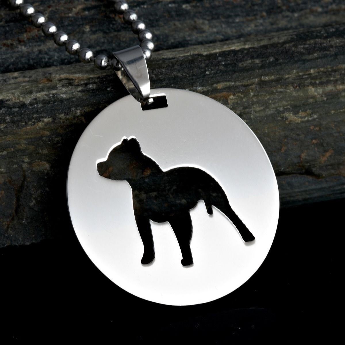 Pitbull American Stanfordshire Terrier Amstaff Dog Pet Charm Round Pendant Tag