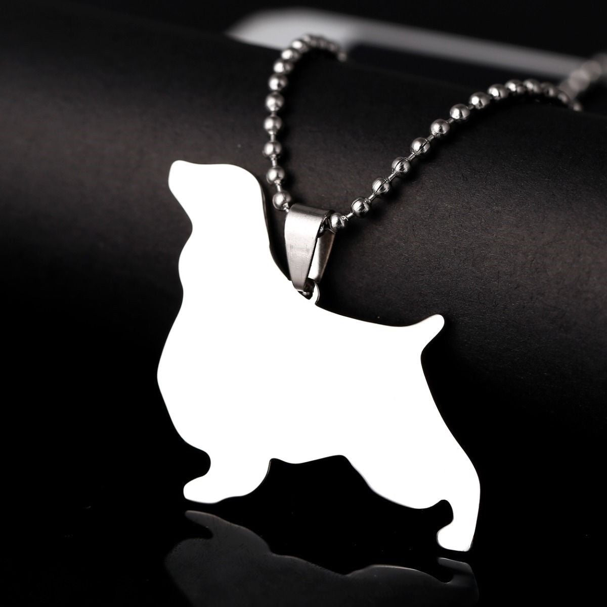 Stainless Steel English Springer Spaniel Pet Dog Tag Charm Pendant Necklace