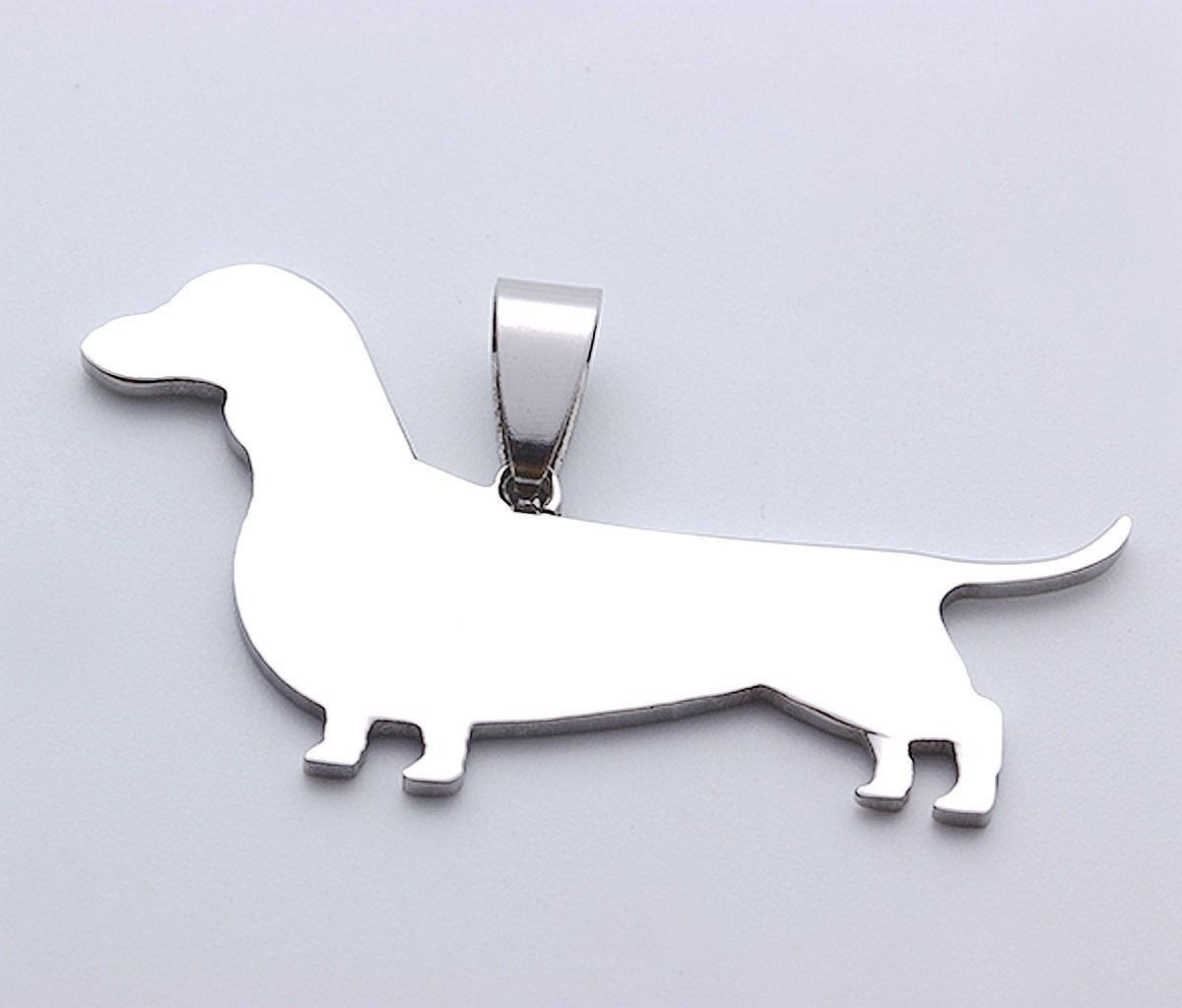 2pcs Stainless Steel Short Hair Dachshund Doxie Wiener Pet Dog Tag Charm Pendant
