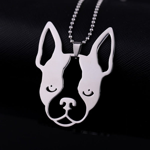 BIG Stainless Steel Boston Terrier Boxwood Head Pet Dog Tag Collar Charm Pendant