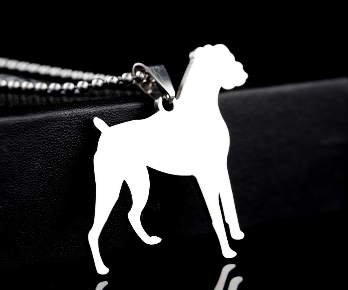 Stainless Steel Natural Ear German Boxer Deutscher Dog Pet Charm Pendant ID Tag