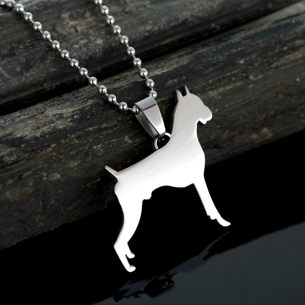 New Cropped Ear German Boxer Deutscher Dog Pet Charm Pendant Necklace Collar Tag