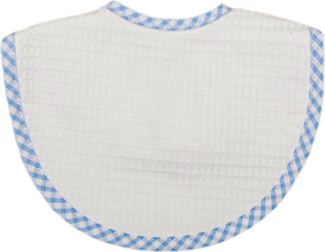 Blue Gingham Check Pique Bib
