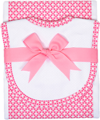 Burp & Bib Set - Pink Polka Dot