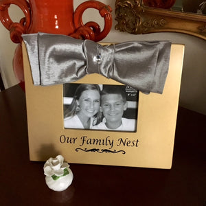 Our Family Nest Chiffon Bow Picture Frame