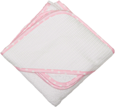 Pink Check Pique Hooded Towel & Washcloth Set