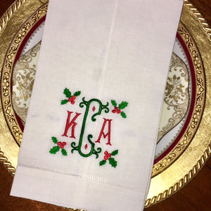 Holly & Berry Frame Towel