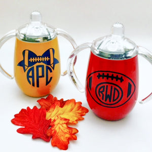 Stainless Steel 9oz Sippy Cup - Football