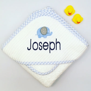 Blue Check Pique Hooded Towel & Washcloth Set