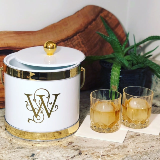 White with Dual Gold Band Ice Bucket