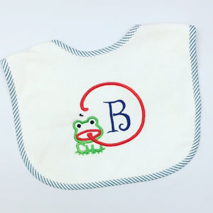 Blue Ticking Stripe Frog & Fly Toddler Bib