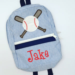 Navy Seersucker Backpack with Baseball applique - Jake