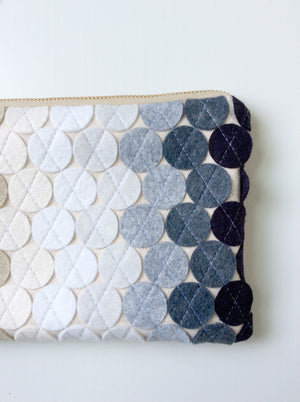 New Years Neutral Wool Felt Geo-Dot Wristlet Wallet