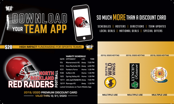 North Rockland Red Raiders Football Premium Discount Card 2019
