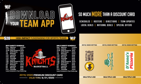 Floral Park Knights Basektball Premium Discount Card 2019