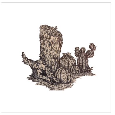Desert Tree Stump, but more detailed Greeting Cards