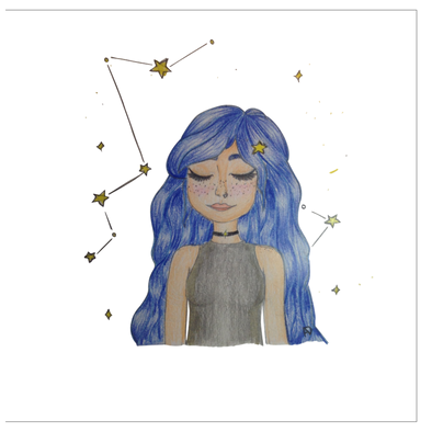 The Girl of Stars Greeting Cards