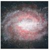 A red galaxy Greeting Cards