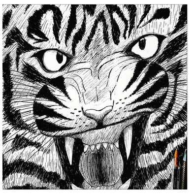 Full Furious Tiger Greeting Cards