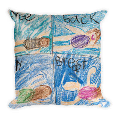Swim Strokes Square Pillow