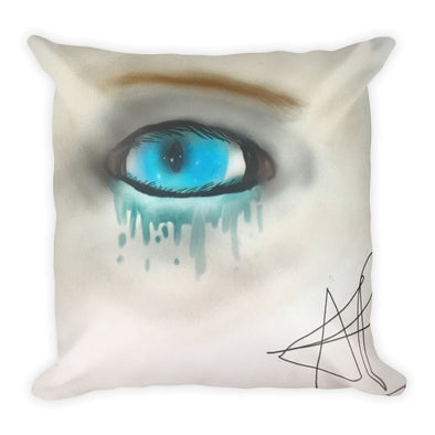 Sadness in Blue Square Pillow