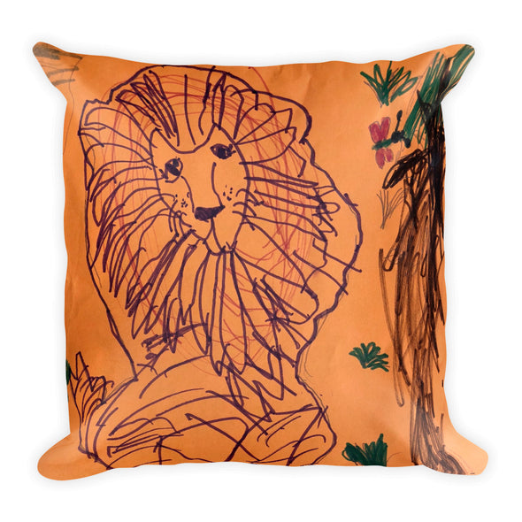 Bashful Lion Square Pillow