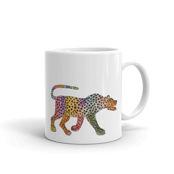 A rainbow coloured cheetah Mug