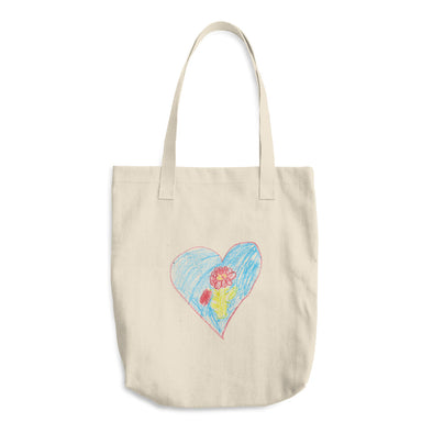 Heart Rose Cotton Tote Bag