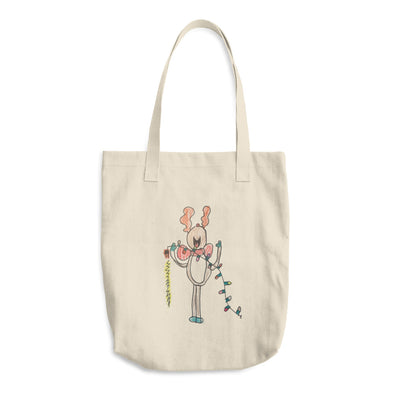 Happy Rudolph Cotton Tote Bag