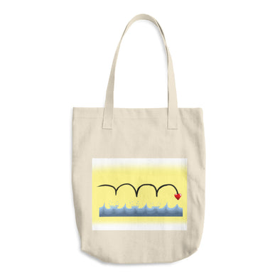 Skipping Heart Cotton Tote Bag