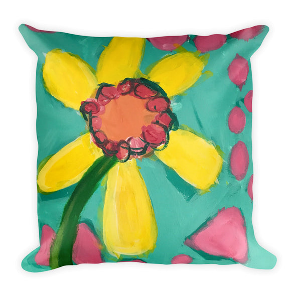 Yellow Flower Square Pillow