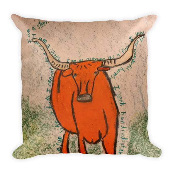 Billy the Steer Square Pillow