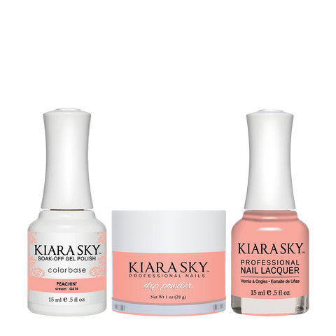 Kiara Sky 3in1 Dipping Powder + Gel Polish + Nail Lacquer - Electro Pop Collection, DGL 616, Peachin'
