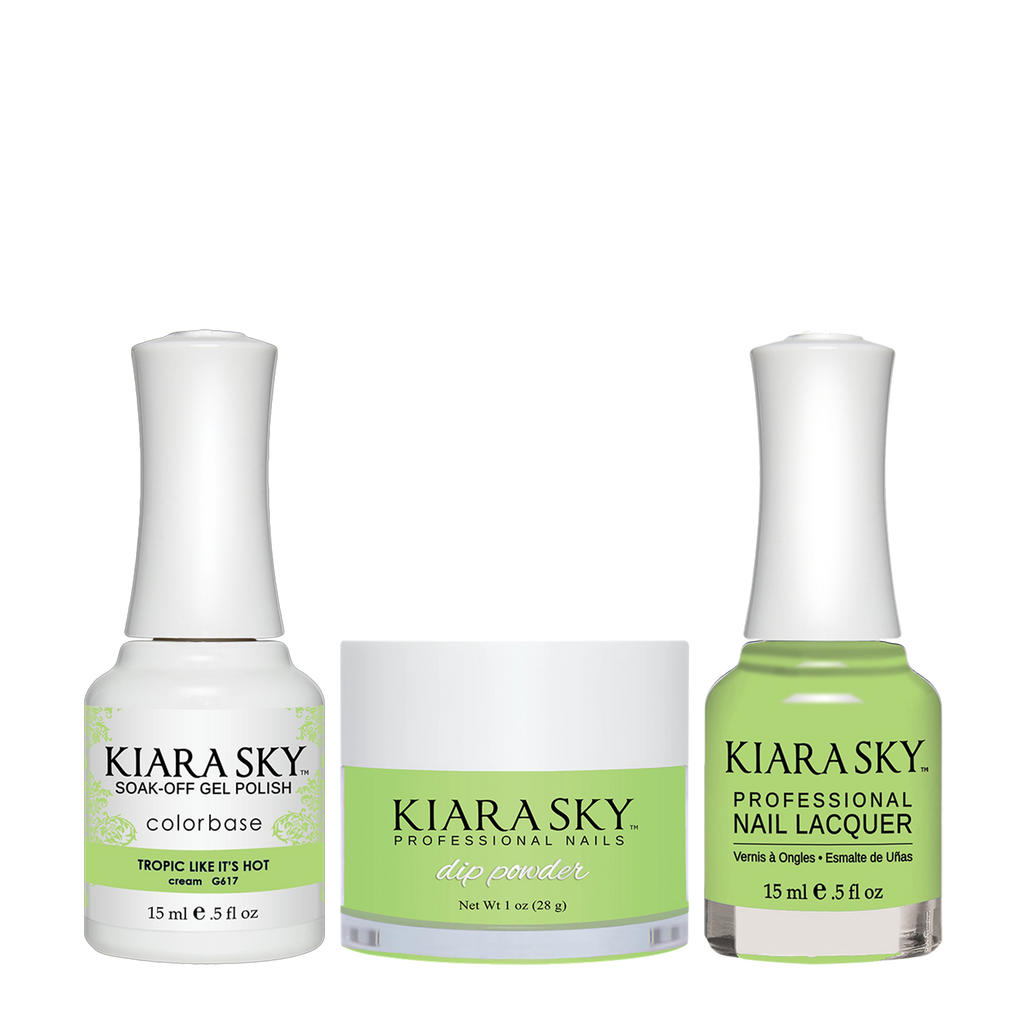 Kiara Sky 3in1 Dipping Powder + Gel Polish + Nail Lacquer - Electro Pop Collection, DGL 617, Tropic Like