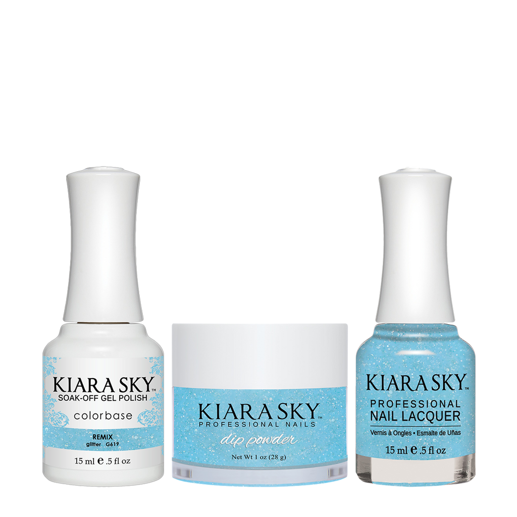 Kiara Sky 3in1 Dipping Powder + Gel Polish + Nail Lacquer - Electro Pop Collection, DGL 619, Remix