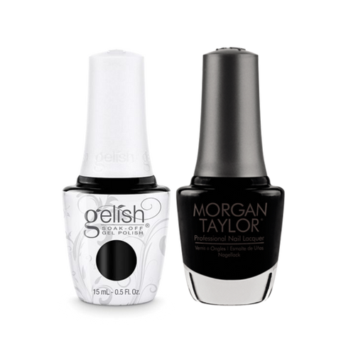 Gelish Gel Polish & Morgan Taylor Nail Lacquer, Little Black Dress / Black Shadow, 0.5oz, 1110830 + 50060