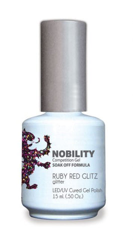 Nobility Gel Polish + Matching Lacquer Ruby Red Glitz