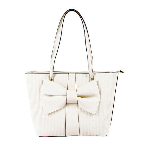 ALL BAGS - Beautiful Cream Bag with Large Bow - AB-H-1173